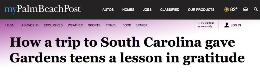 How a trip to South Carolina gave Gardens teens a lesson in gratitude